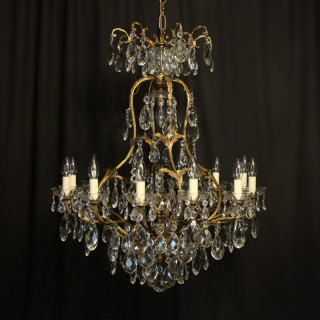 French Gilded Bronze Crystal Antique Chandelier
