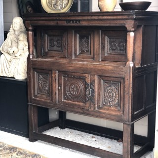 Carved and Dated 16th century Oak Court cupboard