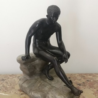 19TH CENTURY GRAND TOUR BRONZE SEATED HERMES