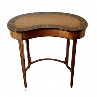 EDWARDIAN SATINWOOD INLAID KIDNEY TABLE
