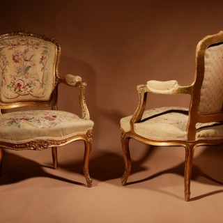 Louis XV Style Finely Carved Gildwood And Original Aubusson Tapestry Cabriolet Pair of Arm Chairs, 19th Century.