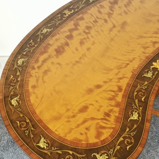 EDWARDIAN SATINWOOD INLAID KIDNEY TABLE