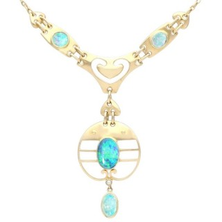 Antique 2.62ct Opal and 15ct Yellow Gold Necklace by Murrle Bennet & Co Circa 1900