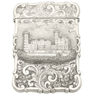 Sterling Silver Castle Top Card Case - Antique Victorian (1858)