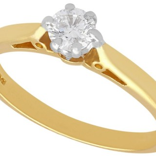 0.23 ct Diamond and 18 ct Yellow Gold Solitaire Ring - Contemporary 2002