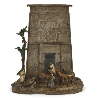 Viennese cold-painted bronze Egyptian monument letterbox by Bergman
