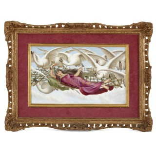 Painted porcelain plaque of woman flown aloft by swans