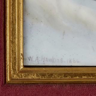 Painted porcelain plaque of woman flown aloft by swans