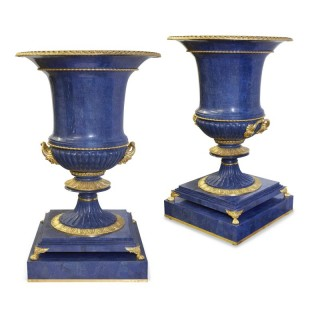 Pair of large Neoclassical style lapis and gilt bronze vases