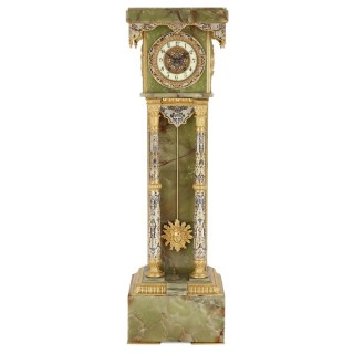 French Neoclassical style enamel, onyx, and gilt bronze pedestal clock