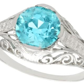 3.34 ct Blue Zircon and Platinum Dress Ring - Antique Circa 1920