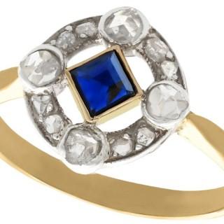 0.20 ct Sapphire and 0.32 ct Diamond, 18 ct Yellow Gold Dress Ring - Antique Circa 1910