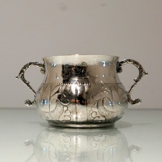 17th Century Antique Charles II Silver Porringer London 1668 maker (T*A)