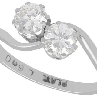 0.79ct Diamond and Platinum Twist Ring - Antique Circa 1920