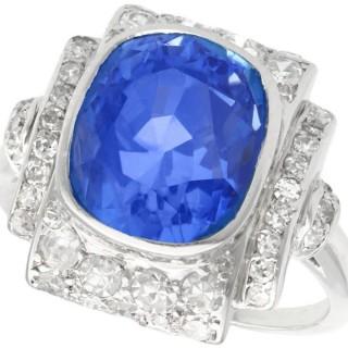 5.86 ct Ceylon Sapphire and 0.73 ct Diamond, Platinum Dress Ring - Art Deco - Antique Circa 1935