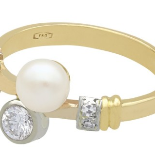 Cultured Pearl and 0.38 ct Diamond, 18 ct Yellow Gold Twist Ring - Vintage Circa 1950