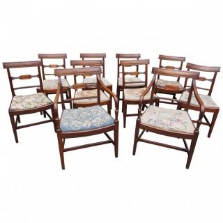 Set of 10 George III Inlaid Mahogany Dining Chairs
