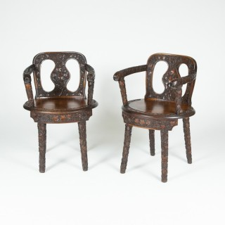 PAIR OF HALL CHAIRS CARVED WITH VINES. circa 1860.