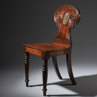 A Superb Regency  Mahogany Hall Chair in the manner of Gillows of Lancaster