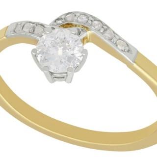 0.50ct Diamond and 14ct Yellow Gold Twist ring - Antique Circa 1910