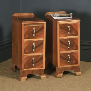 Antique English Pair of Art Deco Figured Walnut Bedside Chests Tables Nightstands (Circa 1930)
