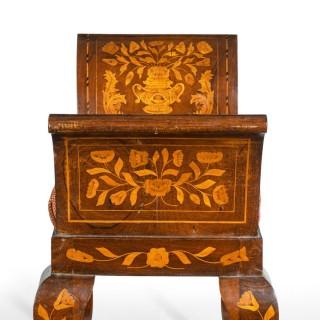 A Dutch marquetry mahogany stool