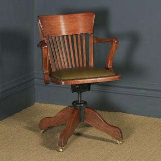 Antique English Edwardian Solid Oak & Green Leather Revolving Office Desk Arm Chair By William Angus & Co. (Circa 1910)