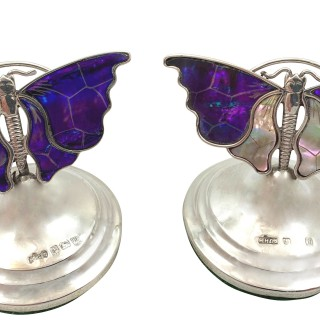 Pair of Antique Sterling Silver & Mother of Pearl Butterfly Menu Holders 1911