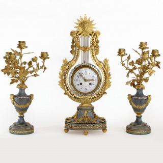 French Gilt Lyre Clock & Pair of Candelabra