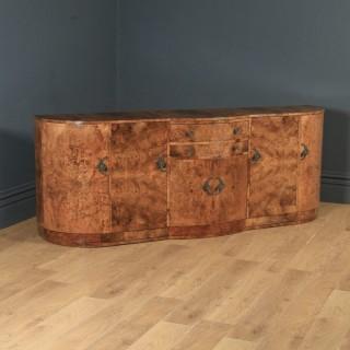 Antique English Art Deco Epstein Burr Walnut Cloud Shape Sideboard Cabinet Cupboard (Circa 1930)