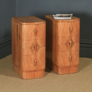 Antique English Pair of Art Deco Figured Walnut Bow Front Bedside Chests Tables Nightstands (Circa 1930)