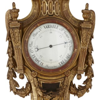 Rare Neoclassical style French giltwood clock and barometer set