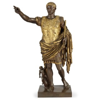 Patinated and gilt bronze figure of Caesar Augustus by Ferdinand Barbedienne