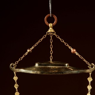 Dutch, Arts and Craft, Very Stylish Copper and Brass Oil Lamp,