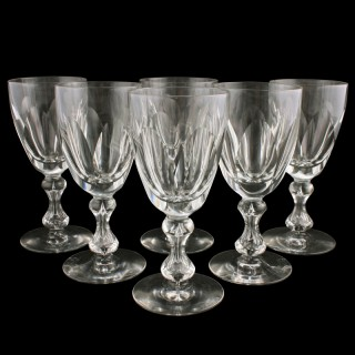Six Victorian Cut Wine Glasses