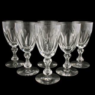 Six Victorian Cut Wine Glasses