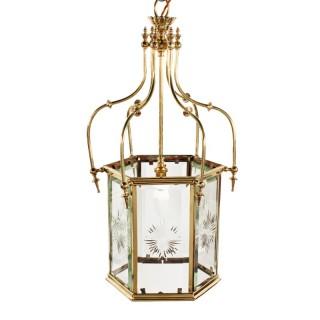 Edwardian Hexagonal Brass Hall Lantern