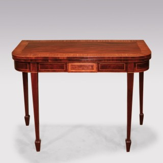 A George III period mahogany and satinwood card table
