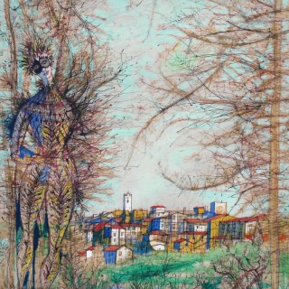 Homme Masqué dans un Paysage by Jean Carzou (1907 – 2000)