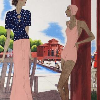 Monte-Carlo Beach by Leon Benigni (1892 – 1948)