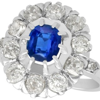 1.02ct Basaltic Sapphire and 1.85ct Diamond, 18ct White Gold Cluster Ring - Antique Circa 1930
