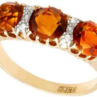 2.76 ct Citrine and 0.10 ct Diamond, 18 ct Yellow Gold Dress Ring - Antique Circa 1930