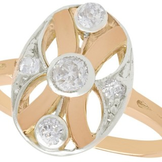 0.29 ct Diamond and 14 ct Rose Gold Dress Ring - Antique Circa 1930