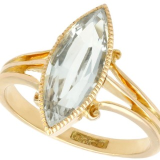 2.33 ct Aquamarine and 15 ct Yellow Gold Dress Ring - Antique Victorian