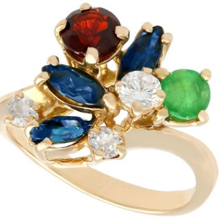 0.87 ct Multi-Gemstone and 0.28 ct Diamond, 18 ct Yellow Gold Ring - Antique and Vintage