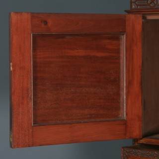 Antique English Georgian Chippendale Style Mahogany Chest on Chest With Linen Cupboard (Circa 1900)