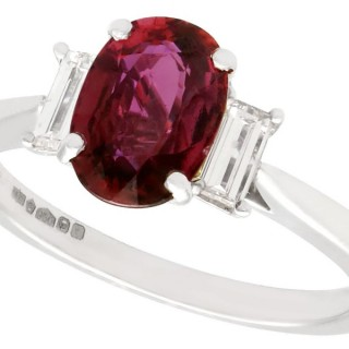 1.68ct Cambodian Ruby and 0.28ct Diamond, Platinum Trilogy Ring - Contemporary 2018