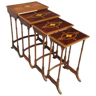 Sheraton Style Inlaid Mahogany Nest of Tables