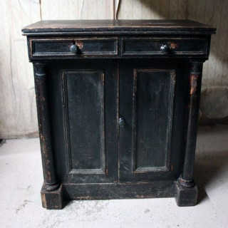 A Late Victorian Black Painted Pine Chiffonier c.1880