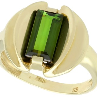 2.05 ct Tourmaline and 14 ct Yellow Gold Dress Ring - Art Deco Style - Vintage Circa 1950